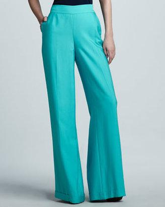 Ralph Lauren Black Label Dalphine Cuffed Wide-Leg Pants, Turquoise