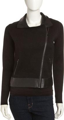 Neiman Marcus Leather-Collar Zip-Front Jacket, Black