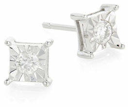 Effy 14K White Gold and 0.20 Total Carat Weight Diamond Square Stud Earrings