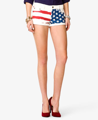 Forever 21 American Flag Print Denim Shorts