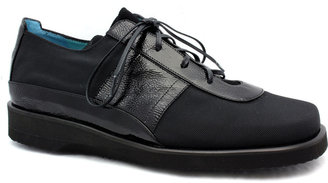 """Thierry Rabotin 7543V"""" Black Microfiber and Patent Leather Oxford"""