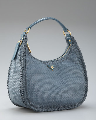 Prada Madras Braided Zip-Top Hobo