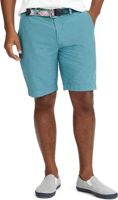 "Brooks Brothers Plain-Front Overdyed 9"" Seersucker Bermuda Shorts"