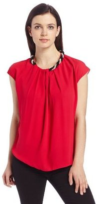 Chaus Women's Short Sleeve Draped Neck Blouse with Beaded Twist Embellishment