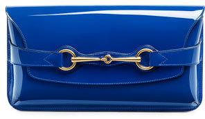 Gucci Bright Bit Patent Leather Clutch Bag, Sapphire