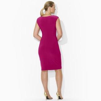 Ralph Lauren Cap-Sleeved Cowlneck Dress