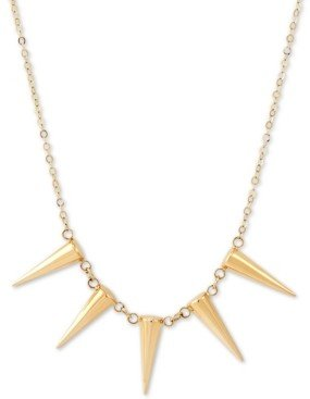 """Italian Gold Five Spike Frontal Necklace 17"""" in 14k Gold"""