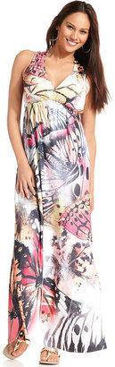 Style&Co. Petite Dress, Sleeveless Printed Empire-Waist Maxi