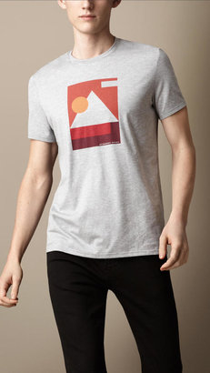 Burberry Abstract Print Cotton T-Shirt