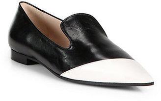 Miu Miu Bicolor Leather Point-Toe Loafers