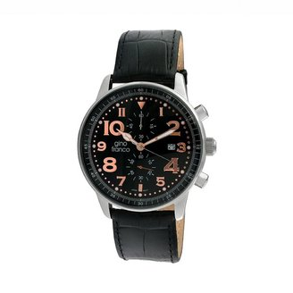 Gino Franco Men's Volare Leather Chronograph Watch - 911BK