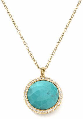 Ippolita Gold Rock Candy Lollipop Diamond Turquoise Pendant Necklace