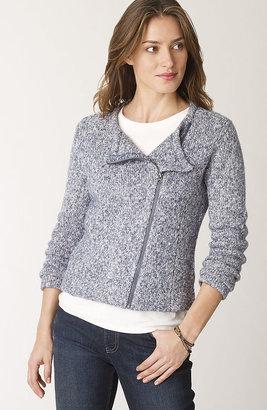 J. Jill Asymmetrical-zip sweater jacket