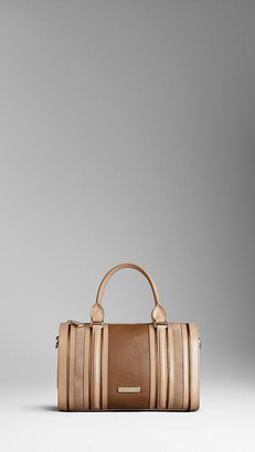 Burberry Medium Metallic and Suede Detail Bowling Bag
