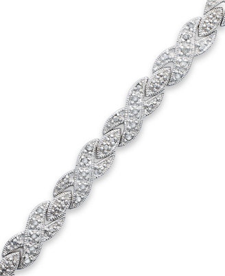 Townsend Victoria Rose-Cut Diamond XO Bracelet in Silver-Plated Brass (1/2 ct. t.w.)
