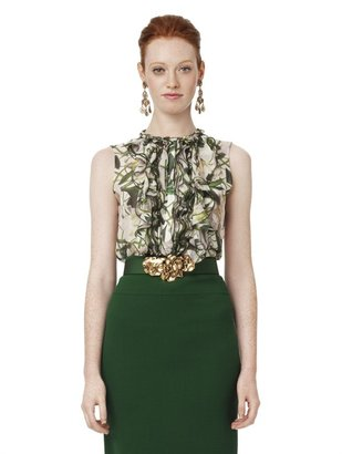 Oscar de la Renta Floral Print Sleeveless Ruffle Front Blouse