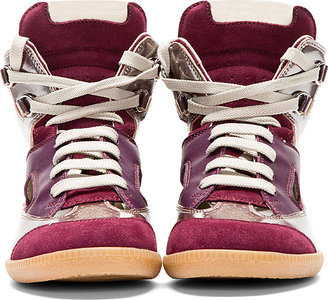 Maison Martin Margiela Plum Leather Cut-Out High-Top Sneakers