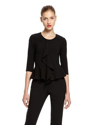 DKNY Satin Back Crepe 3/4 Sleeve Blouse With Cascade Front Ruffle And Peplum Hem