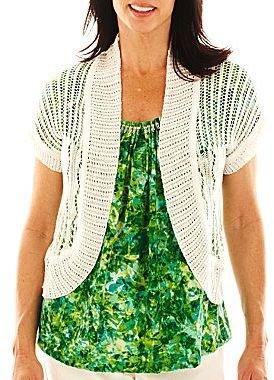 JCPenney Lark Lane® Tropical Thunder Short-Sleeve Cardigan Sweater