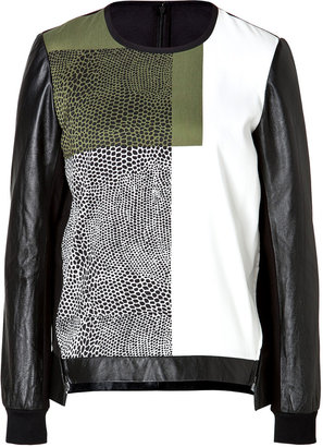 Tibi Leather/Cotton Top in Black Multi