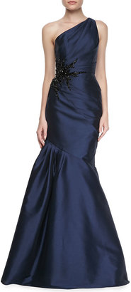 Monique Lhuillier ML One-Shoulder Side Bead & Pleated Gown, Navy