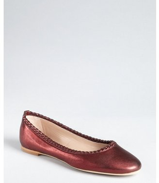Chloé merlot metallic leather braided trim flats