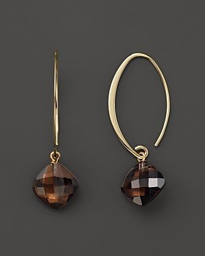 Bloomingdale's 14K Yellow Gold Simple Sweep Earrings with Smoky Quartz - 100% Exclusive
