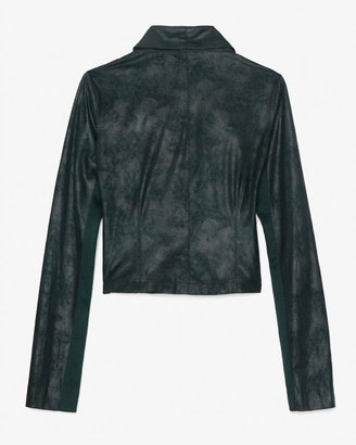 Georgie Exclusive Leather-like Moto Jacket: Green
