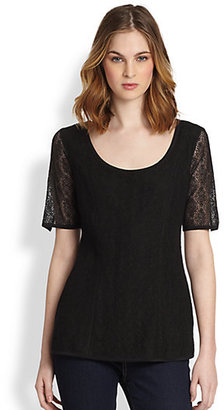 Saks Fifth Avenue Collection Layered Lace & Silk Top