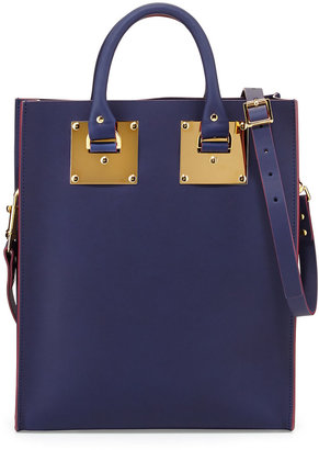 Sophie Hulme Mini Buckled Leather Tote Bag, French Navy