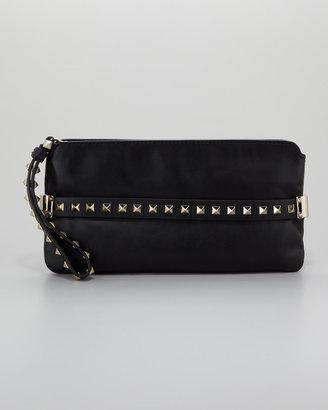 Valentino Rockstud Wristlet Clutch Bag, Black