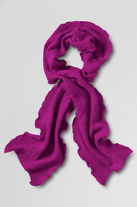 Lands' End Women's Cashmere Pointelle Ruffle Scarf