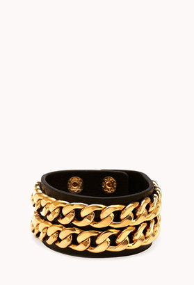 Forever 21 Pretty Tough Faux Leather Cuff