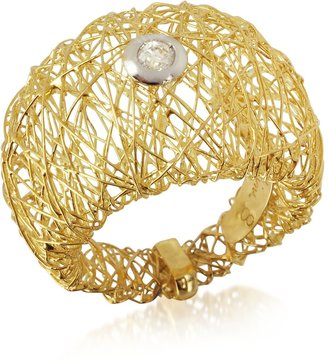 Orlando Orlandini Arianna - 18K Gold Wide Ring w/ Round Diamond