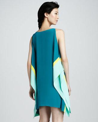 Jay Godfrey Colorblock Sleeveless Kimono Dress