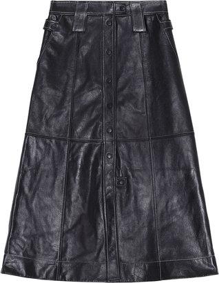 Ganni Lamb Leather A-Line Midi Skirt
