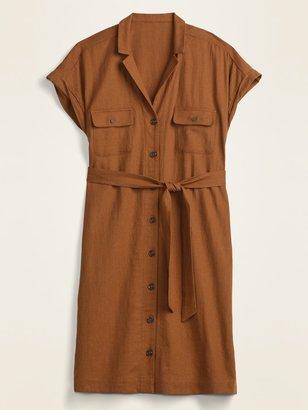 Old Navy Linen-Blend Utility Tie-Belt Shirt Dress for Women