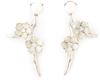 Shaun Leane sterling silver Cherry Blossom small drop diamond and pearl earrings
