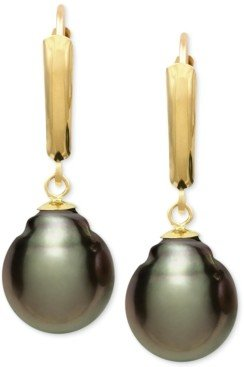 Belle de Mer Tahitian Pearl (10mm) Leverback Earrings in 14k Gold