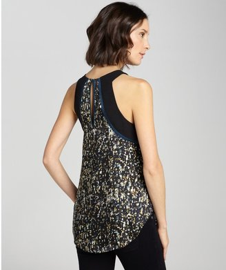 Rebecca Taylor Black Sequin Printed Silk Tank
