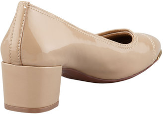 Tory Burch Marion Patent Leather Pump, Clay Beige