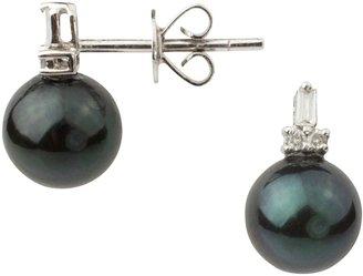 A B Davis 9ct White Gold Diamond Cultured Pearl Stud Earrings