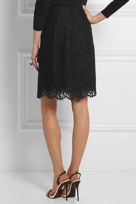 Dolce & Gabbana A-line cotton-blend lace skirt