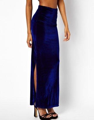 Asos Maxi Skirt in Velvet with Splits
