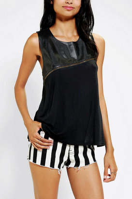 Sparkle & Fade Perforated Vegan-Leather Tank Top