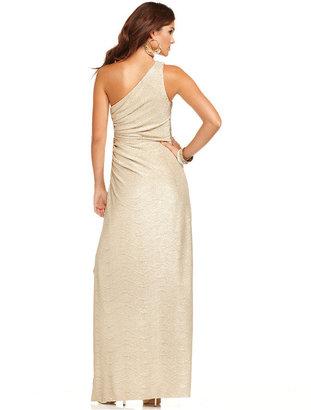 Betsy & Adam One-Shoulder Beaded Metallic Gown