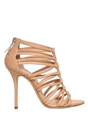 Casadei 100mm Nappa Leather Peplum Sandals