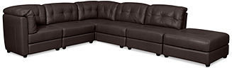 """Fabian Leather Modular Sectional Sofa, 6-Piece (2 Square Corners, 3 Armless Chairs, and Ottoman) 147""""W x 114""""D x 35""""H"""