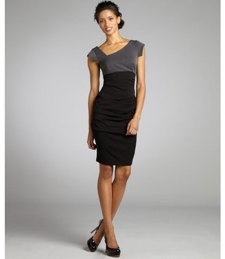 Nicole Miller black colorblock ruched asymmetrical woven cap sleeve dress