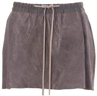 Rick Owens Leather drawstring mini skirt